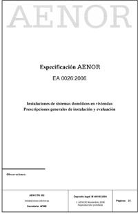 Aenor Instalaciones Domotica EA 0026:200601
