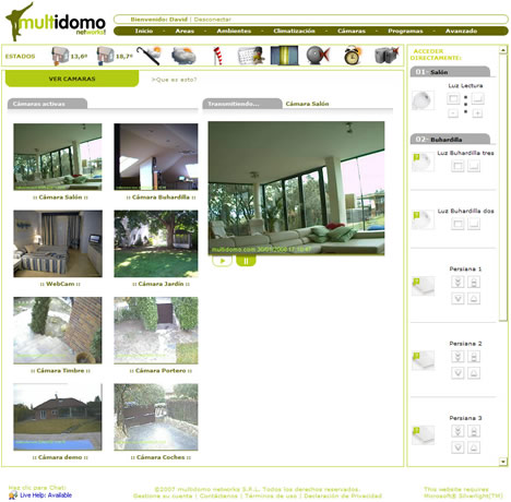 Captura Pantalla Visualización Cámaras Software Control Hogar Digital Multidomo