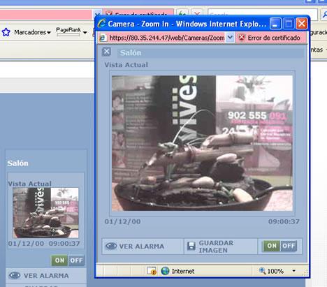 Interface Web Cámaras VDNS PowerLink Visonic vivesegur