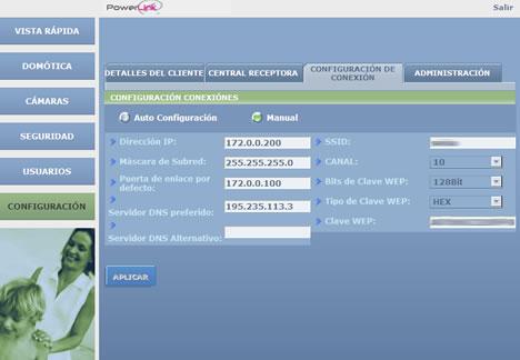Interface Web Configuración VDNS PowerLink Visonic vivesegur