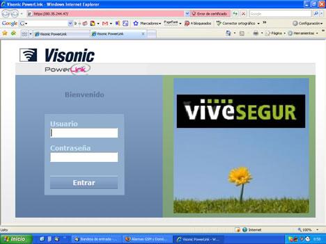 Interface Web Login VDNS PowerLink Visonic vivesegur