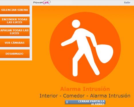 Pantalla Alarma Interface Web VDNS PowerLink Visonic vivesegur