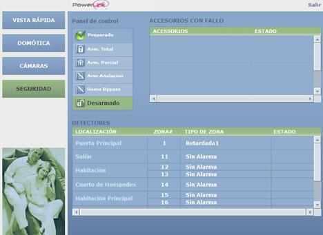 Interface Web Seguridad VDNS PowerLink Visonic vivesegur