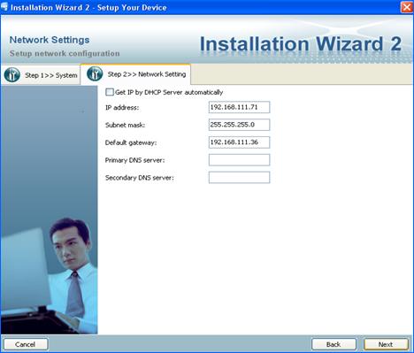 Configuración de Red Instalation Wizard Cámara IP Vivotek LSB