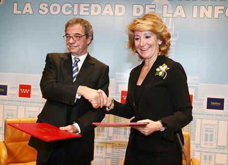 Esperanza Aguirre de la Comunidad de y César Alierta de Telefónica