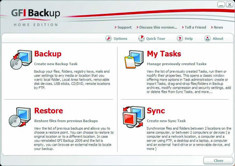 GFI Backup Mainscreen