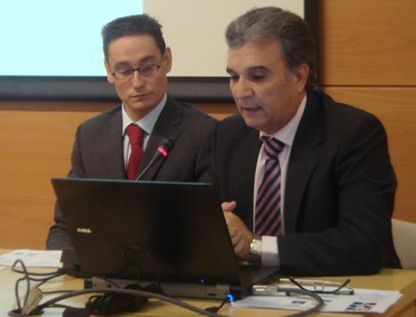 Antonio Valero y José María Redondo de Dicomat-Wago en el KNX Workshop