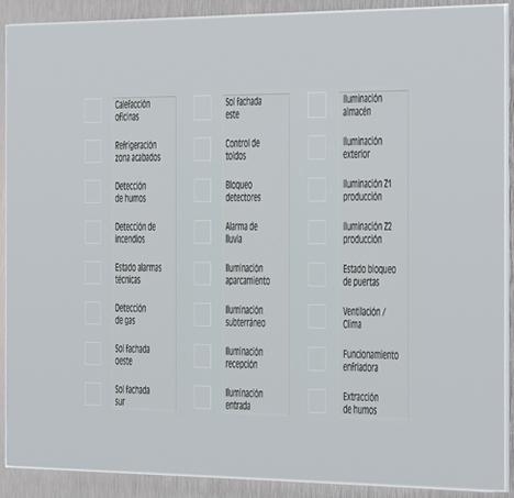 Panel táctil KNX con superficie de cristal de Jung
