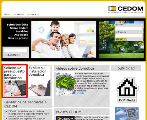 Solicitar Presupuesto en Web de CEDOM