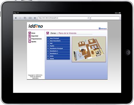 îPad con interface Iddero en vivienda de Docelar Ingeniería con KNX e Pantalla Iddero.