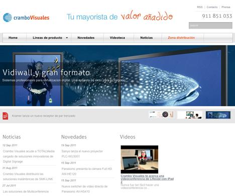 Pantallazo de la nueva web de Crambo Visuales