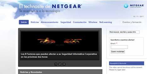 Pantallazo de la web de Netgear