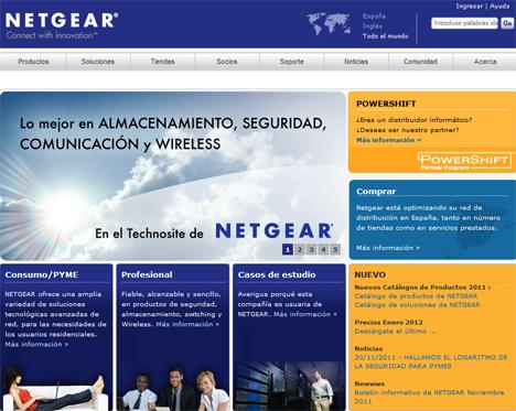 Pantallazo de la nueva web de Netgear