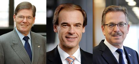 De izda. a dcha., Hermann Scholl, Volkmar Denner y Franz Fehrenbach
