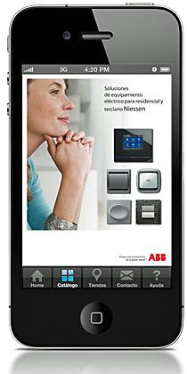 Catálogo digital de ABB en un iPhone