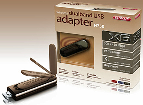 Adaptador Inalámbrico WLA-6000 Wireless Dual-Band USB Adapter N750 X6 de Sitecom