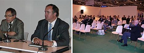 A la izquierda, presidente y vicepresidente de KNX España, a la derecha, asistentes a una de las conferencias