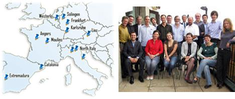 A la izquierda, mapa de los Pilot Sites del proyecto, a la derecha, miembros del equipo