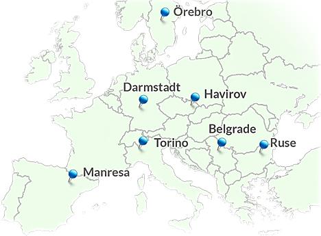 Mapa con las ciudades del proyecto BECA