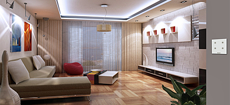 Salón con Wulian Smart Lighting