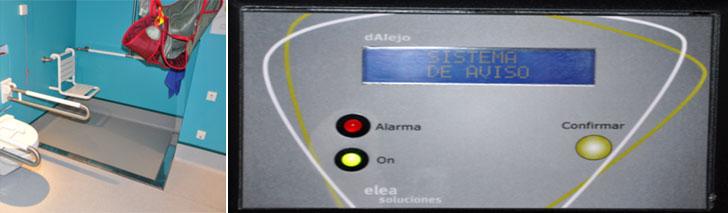 Alarma en display y detector de caídas
