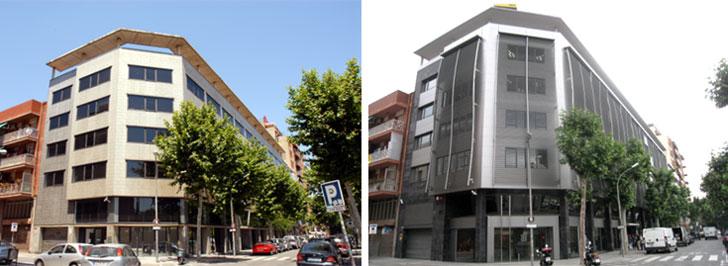 Edificio en estado original y edficio tras la reforma