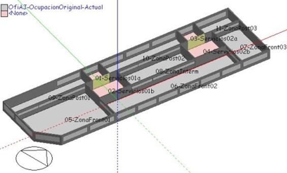 Modelo 3D, plantas primera a la cuarta