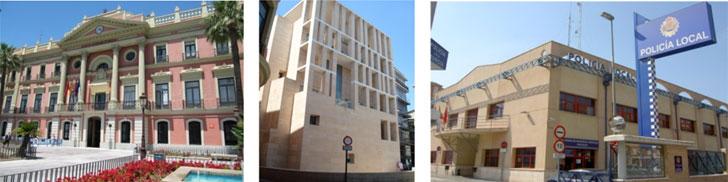 Casa Consistorial y edificio anexo de Murcia, y Complejo edificios de Seguridad.
