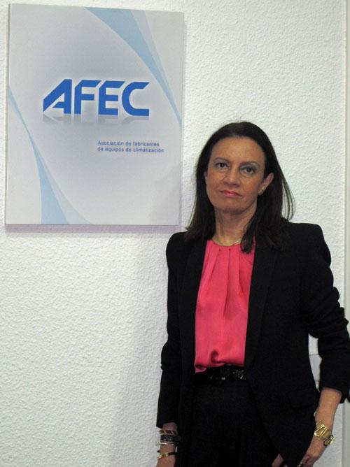 Pilar Budí con el logo de AFEC