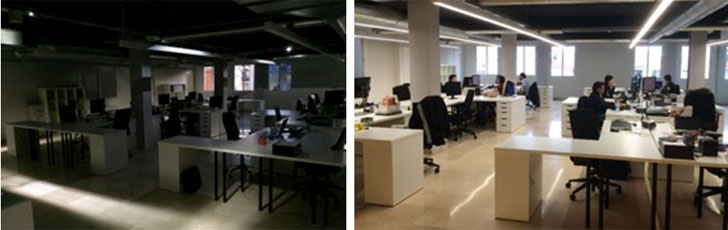 Figura 1. Iluminación de emergencia en marcha. Figura 2. Sala con iluminación de emergencia apagada.