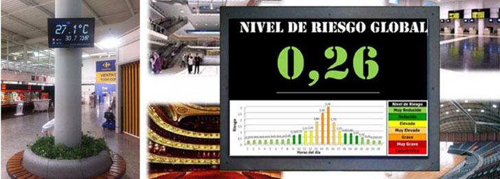 Paneles informativos públicos del SPERTR informando del Nivel de Riesgo.