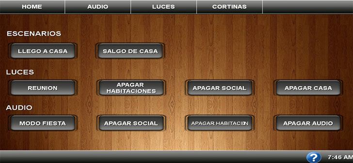"Interface de Usuario Inicial de la pantalla Táctil de 7""."
