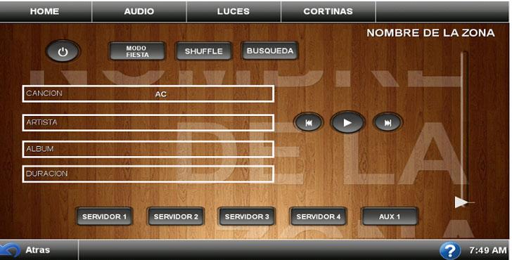 Menú de control y visualización de Multiroom de Audio.