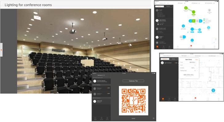 Ejemplo de aplicación en una sala de conferencias para el programador.