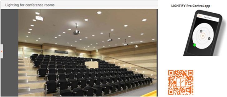 Ejemplo de aplicación en una sala de conferencias para el usuario.
