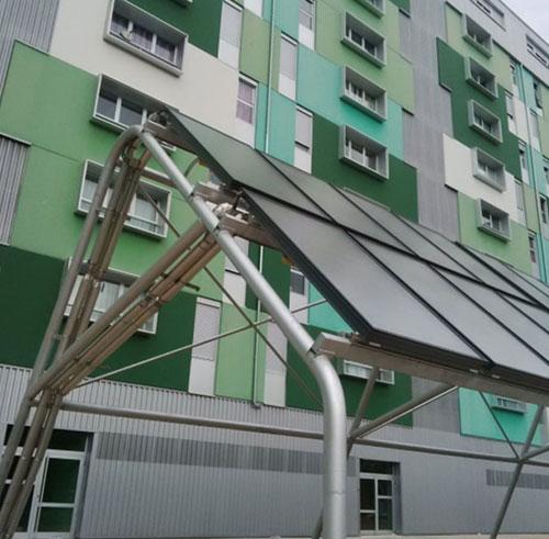 Edificios con sistema centralizado con apoyo solar.