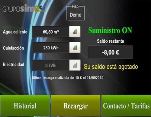 Imagen real de la pantalla de usuario Stechome.
