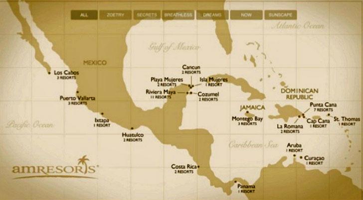 Mapa hoteles AMResorts