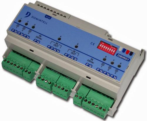 Módulo Salidas Domintell DBIR01 utilizado para controlar la apertura de los brise-soleil