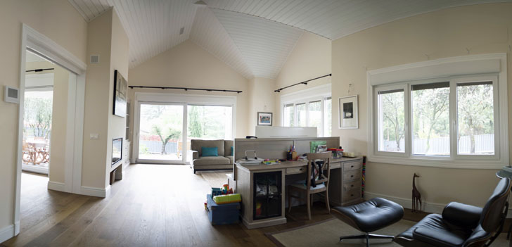Interior de la Casa Pasiva de madera