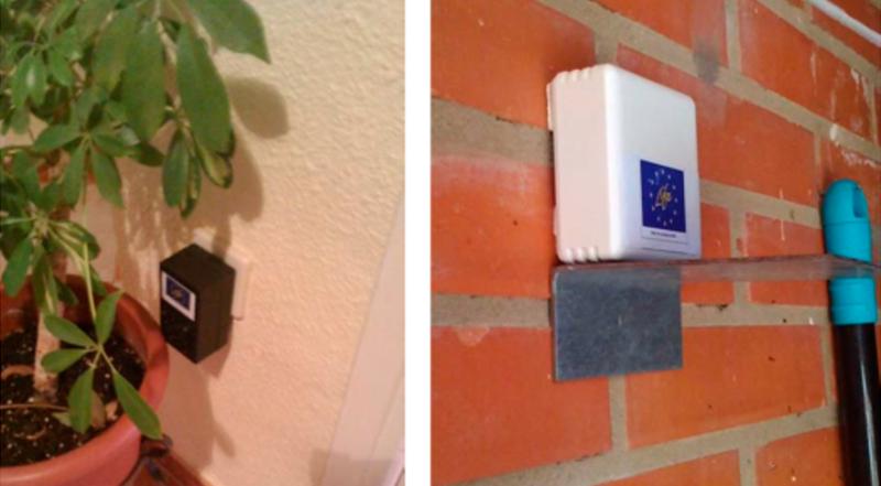 Figura 6. La instalación del sensor de confort interior consiste en enchufar el sensor directamente en un enchufe (la señal se envía inalámbricamente). La instalación del sensor de confort exterior es inalámbrico y a pilas, sólo requiere alojarse donde se desee.