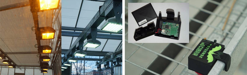 Figura 3. Sistema de iluminación. Izda: Sistema de luminarias LED frente al antiguo. Dcha: BatSense adaptado para el monitoreo de invernaderos.