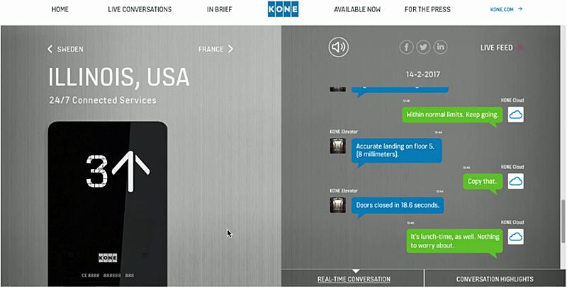 Figura 2. Conversación ascensor de KONE conectado en tiempo real.