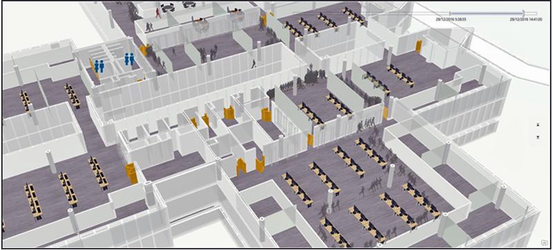 Figura 2. Representación 3D de una planta de edificio junto con el mobiliario e instalaciones existentes.