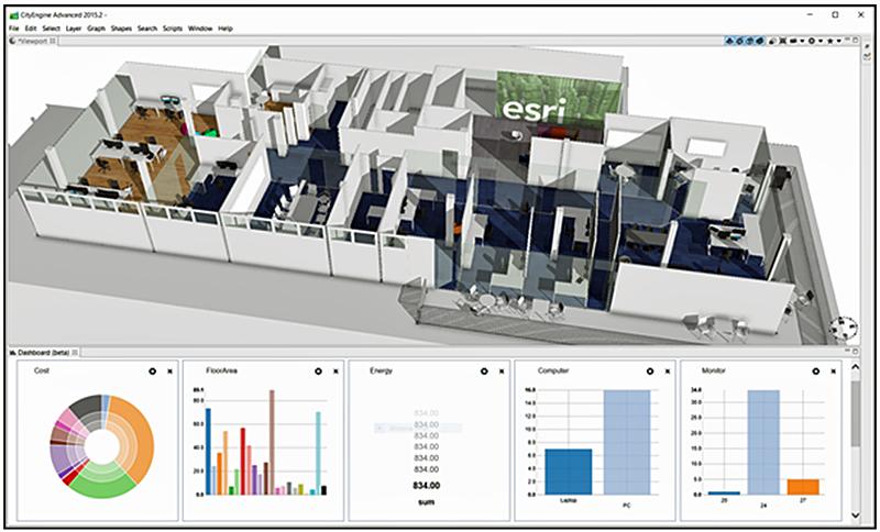 Figura 3. Modelo 3D de edificio con indicadores de consumo energético y costes de mantenimiento.