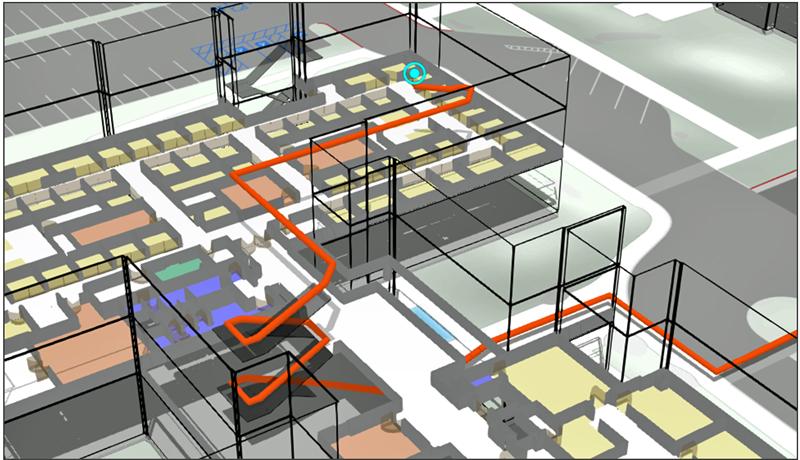 Figura 5. Cálculo de ruta óptima indoor en 3D.