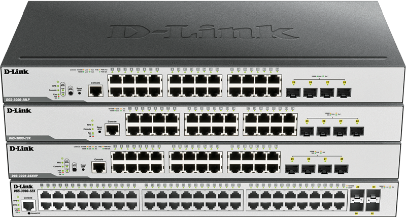 Switches Gestionables DGS-3000 Series Layer 2+ Managed Gigabit de D-Link