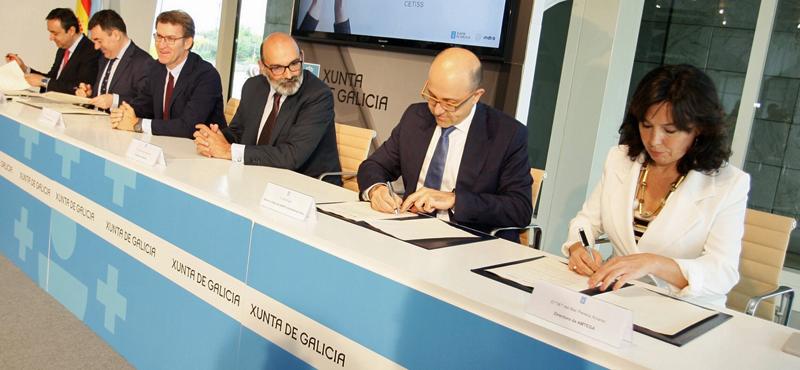 Firma del convenio entre Indra y la Xunta de Galicia