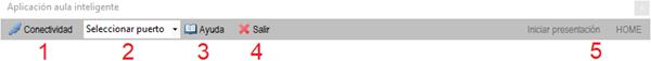 Figura 6. Barra de herramientas de la interfaz virtual para PC.
