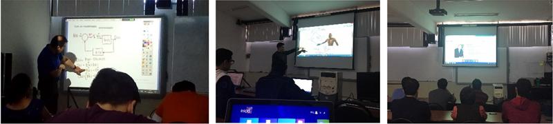Figura 7. Incremento en la calidad educativa ofrecida en el AULA INTELIGENTE; a) uso de pizarrón electrónico; b) uso del sistema audiovisual; c) Video conferencia internacional IEEE SPECTRUM Webinars.